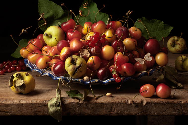 Yellow Cherries and Crab Apples, after G.G., 2011 from the series:  Natura Morta  16 x 20 inches (edition of 15) 20 x 30 inches (edition of 7) 32 x 48 inches (edition of 5) archival pigment print