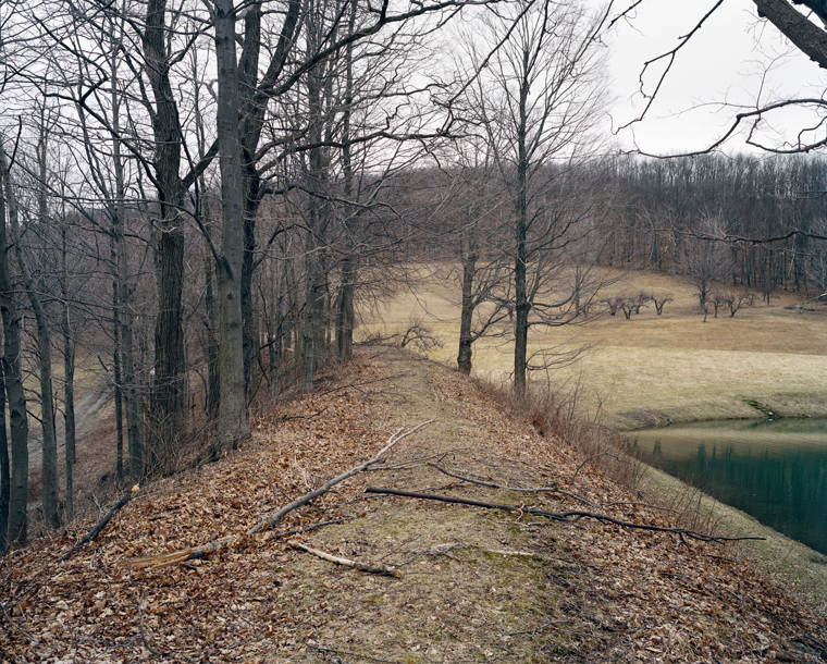Railroad Landscape #77, former Newburgh, Dutchess and Connecticut right-of-way crossing private land (abandoned 1938), MP 5.6, view east, Winter, Husteads, New York, 2011  37 x 44 inches archival pigment print edition of 7