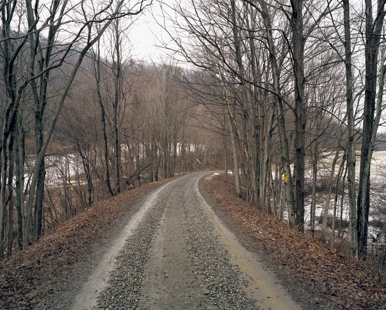 Railroad Landscape #81, former Newburgh, Dutchess and Connecticut right-of-way (abandoned 1938), MP 10.5, view west, Winter, Shekomeko, New York, 2011  37 x 44 inches archival pigment print edition of 7