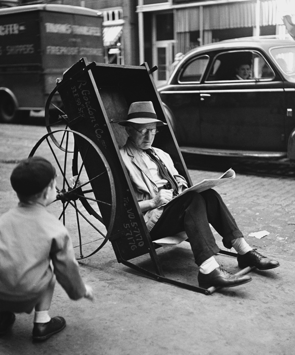 Untitled (Man in Pushcart, New York), 1944  9.5 x 7.75 inches vintage silver print