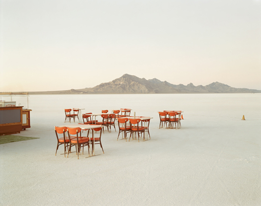Outdoor Dining, Bonneville Salt Flats, 1992  chromogenic dye coupler print 30 x 40 inches