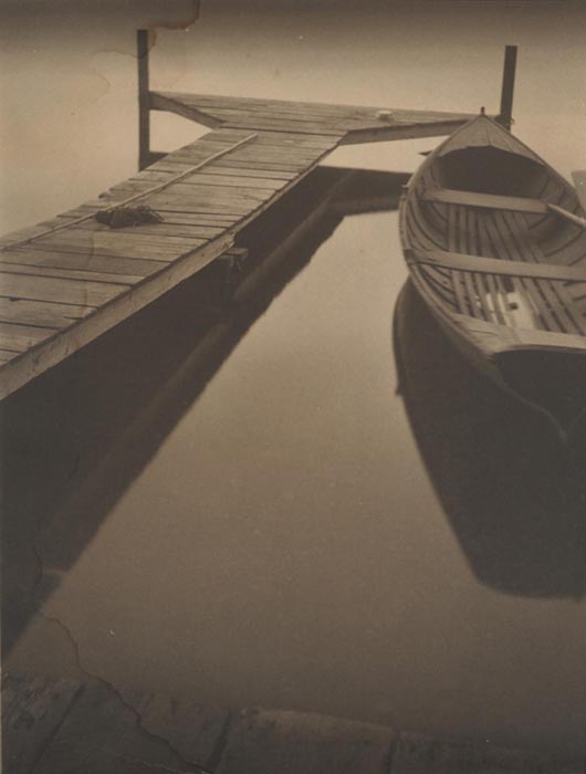 Untitled (boat at the dock), 1924  vintage platinum/palladium print 8.5 x 6.5 inches