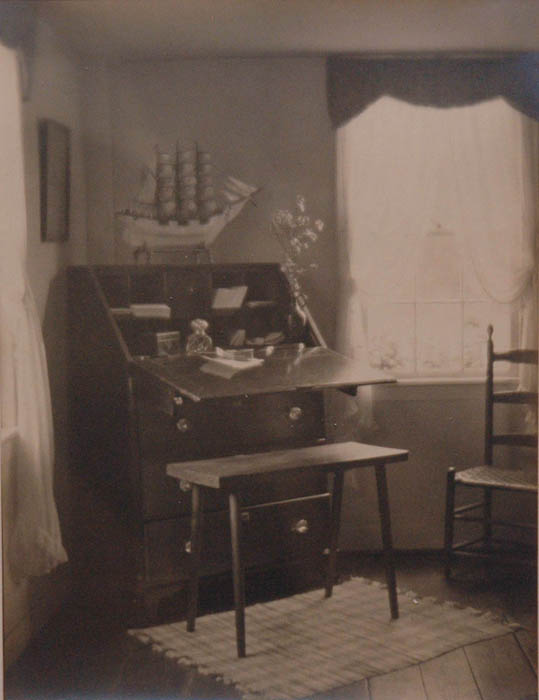 Untitled (interior with writing desk), 1921  vintage platinum/palladium print 8 x 6 inches