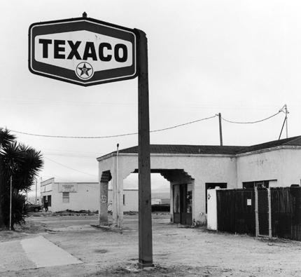 Texaco, Guadalupe, 1990 from the series:  Twentysix Abandoned Gasoline Stations  6.5 x 7 inches edition of 20 silver print
