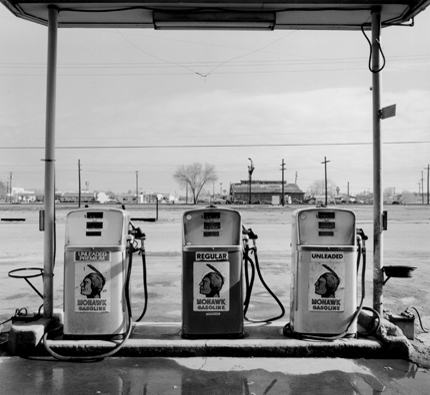 Mohawk, Delano, California, 1989 from the series:  Twentysix Abandoned Gasoline Stations  6.5 x 7 inches edition of 20 silver print