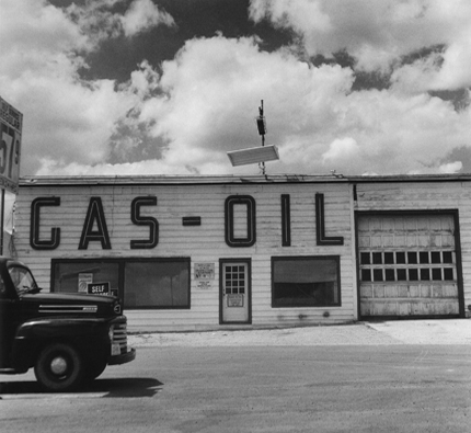 Gas & Oil, Fairplay, Colorado, 1974 from the series:  Twentysix Abandoned Gasoline Stations  6.5 x 7 inches edition of 20 silver print