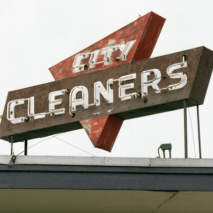City Cleaners, Wayne, Nebraska, 1993 from the series:  Signs  18 x 18 inches edition of 20 archival pigment print