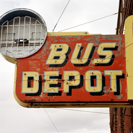 Bus Depot, Anaconda, Montana, 1999 from the series:  Signs  18 x 18 inches edition of 20 archival pigment print
