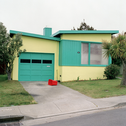 Tango Blue, Daly City, California, 1991 from the series:  Freshly Painted Houses  18 x 18 inches edition of 20 archival pigment print