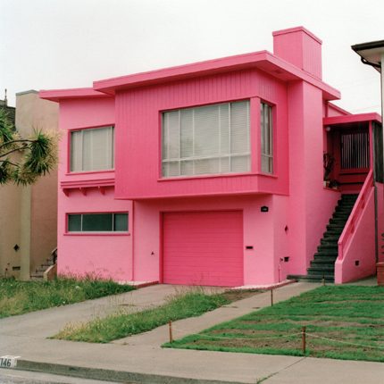 Flamingo Fever, Daly City, California, 1991 from the series:  Freshly Painted Houses  18 x 18 inches edition of 20 archival pigment print