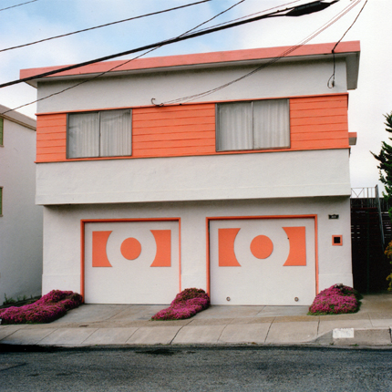 Coral Surprise, Daly City, California, 1991 from the series:  Freshly Painted Houses  18 x 18 inches edition of 20 archival pigment print
