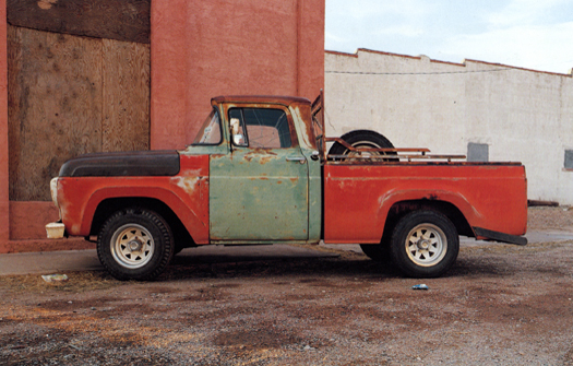 Nº20, Van Horne, Texas, 2001 from the series:  Partially Painted Pickup Trucks  16 x 20 inches edition of 20 chromogenic dye coupler print