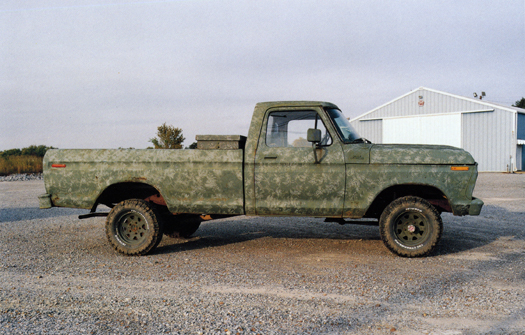 Nº62, Oklahoma, 2001 from the series:  Partially Painted Pickup Trucks  16 x 20 inches edition of 20 chromogenic dye coupler print