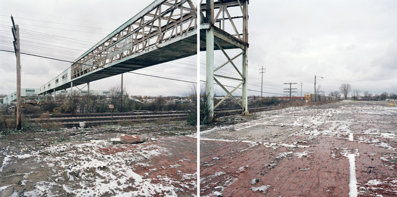 Discarded Landscape #30 (Abandoned Employee Walkway Being Demolished of Former GM Delphi Plant), Flint, Michigan, 2008 24 x 43 inches edition of 7 archival pigment print