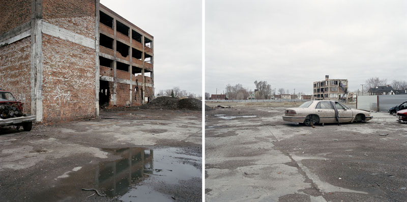 Discarded Landscape #23 (Abandoned Manufacturing Plant in Mixed-Use Neighborhood), Detroit, Michigan, 2006 24 x 43 inches edition of 7 archival pigment print