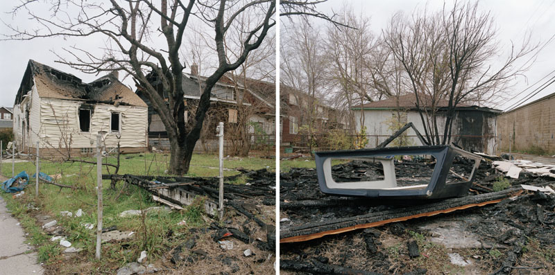 Discarded Landscape #35 (Fire-damaged House and Backyard Along Eight Mile Avenue), Detroit, Michigan, 2008 24 x 43 inches edition of 7 archival pigment print
