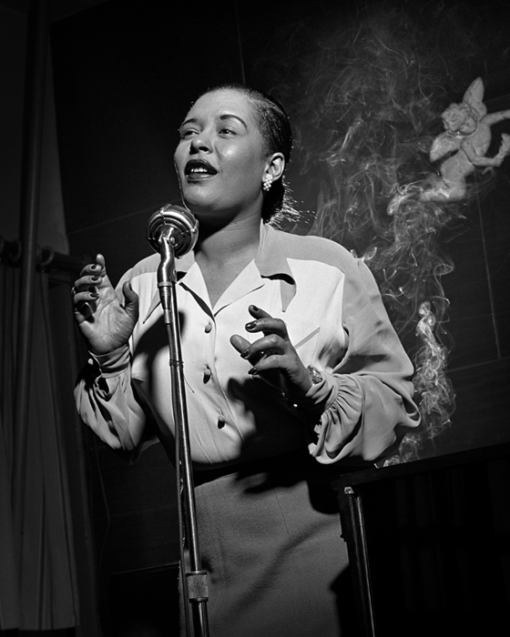 Billie Holiday, NYC, 1949 silver print 14 x 11 inches
