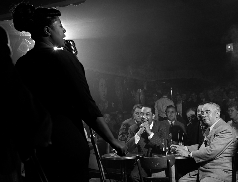 Ella Fitzgerald, Duke Ellington, Benny Goodman, Downbeat Club, 52nd St., NYC, 1948 silver print 20 x 24 inches from a limited edition of 30