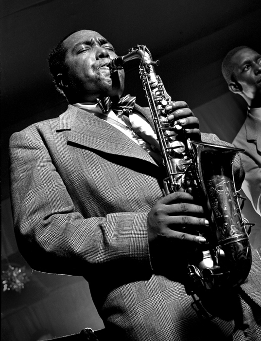 Charlie Parker, Birdland, NYC, 1949 silver print 20 x 16 inches from a limited edition of 30