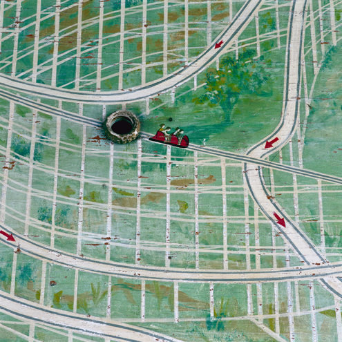 Coaster Painting (detail), Denver, Colorado, 1988 38 x 38 inches edition of 10 chromogenic dye coupler print
