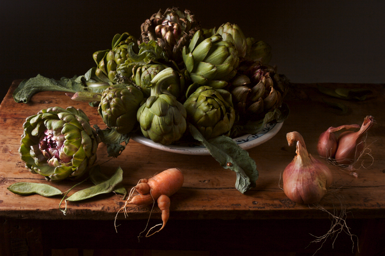 Artichokes, after J.V. H., 2008 from the series  Natura Morta  16 x 20 inches (edition of 15) 20 x 30 inches (edition of 7) archival pigment print