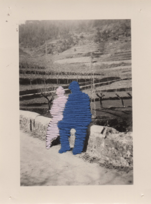 Flore Gardner Old Couple (Ghosts series), 2011 embroidered found photograph 3 x 4 inches