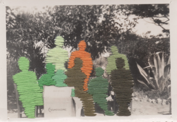 Flore Gardner Odd Man Out (Ghosts series), 2010 embroidered found photograph 2.35 x 3.5 inches