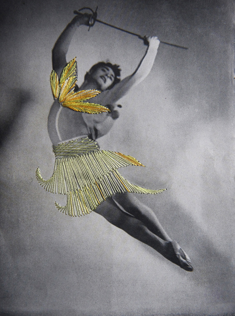 Jose Romussi Wolfgang (Dance 18), 2012 hand-embroidered vintage photograph 8 x 6 inches