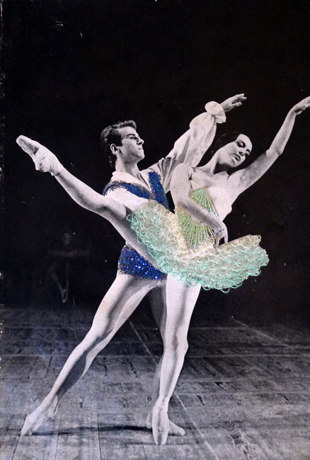 Jose Romussi S-N Green Couple (Dance 20), 2012 hand-embroidered vintage photograph 18 x 15 inches