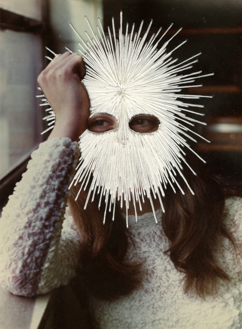 Jessica Wohl White Mask, 2012 embroidery on found photograph 10 x 8 inches