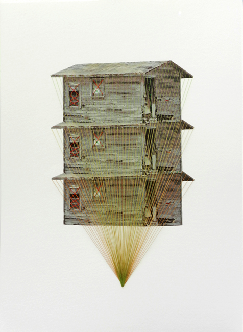 Hagar Vardimon Tower, 2012 threads on heavyweight paper 16.5 x 11.7 inches