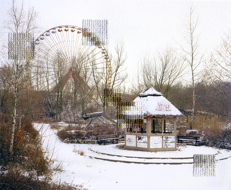 Diane Meyer Spree Park, Former DDR Amusement Park, 2013 hand-sewn archival pigment print 6.25 x 7.5 inches edition of 3