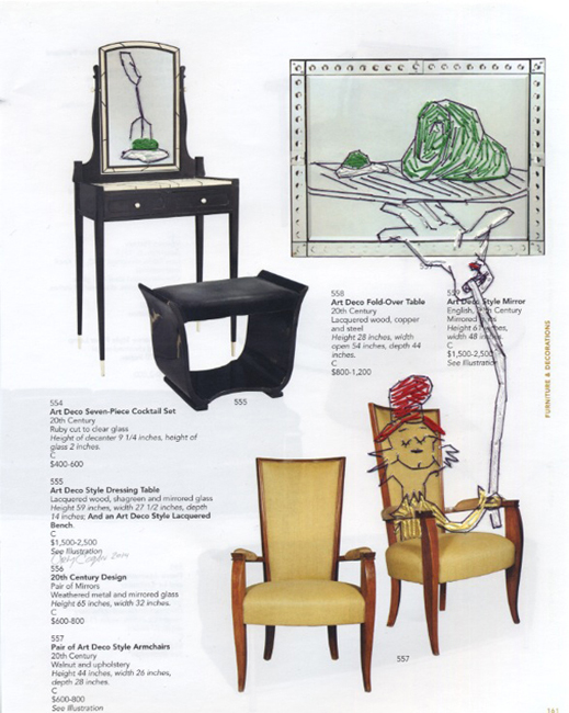 Orly Cogan Would You Like Them on a Chair, 2014 stitched embroidery on printed catalogue page 11 x 8.5 inches