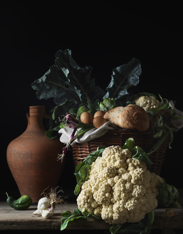 Still Life with Cauliflower and Bread, after L.M., 2014 from the series Bodegón  20 x 15 inches (edition of 15) 30 x 22.5 inches (edition of 7) 48 x 36 inches (edition of 5) archival pigment print