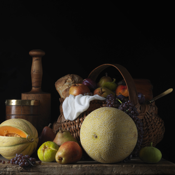 Still Life with Melons and Basket, after L.M., 2014 from the series  Bodegón  24 x 24 inches (edition of 7) 36 x 36 inches (edition of 5) archival pigment print