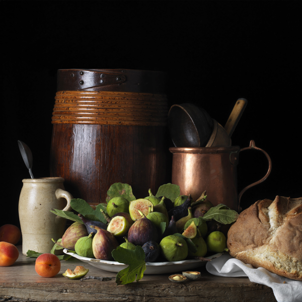 Still Life with Figs and Apricots, after L.M., 2014 from the series  Bodegón  24 x 24 inches (edition of 7) 36 x 36 inches (edition of 5) archival pigment print
