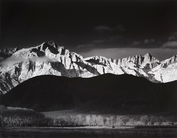 Winter Sunrise, Sierra Nevada from Lone Pine, CA, 1944 silver print 22 x 32 inches
