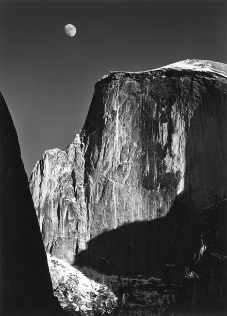Moon and Half Dome, Yosemite National Park, California, 1960 silver print 27 x 21 inches