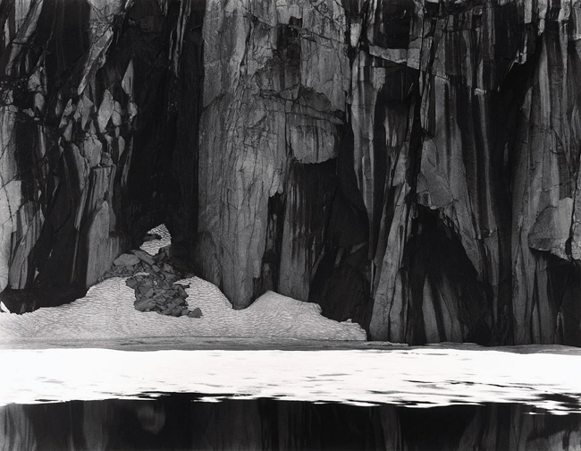 Ice and Cliffs, Kawea Gap (Frozen Lake and Cliffs,  Sequoia  National Park), 1932 silver print 10.5 x 13.5 inches