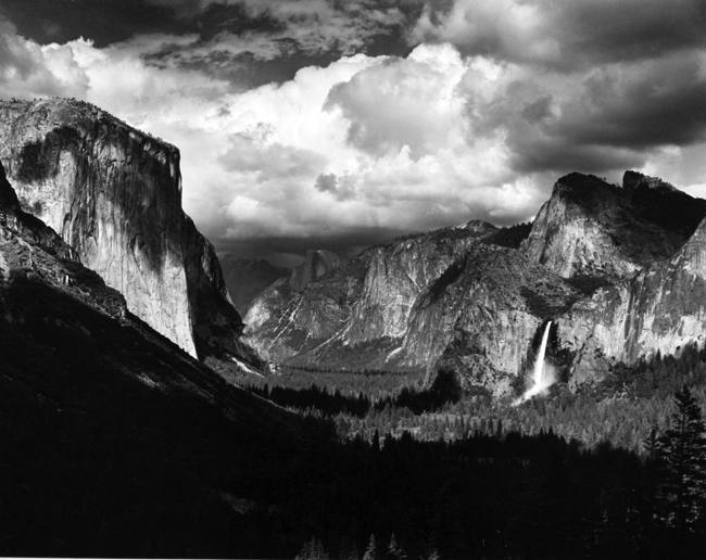Thunderstorm, Yosemite Valley, 1945  silver print 14.75 x 19 inches