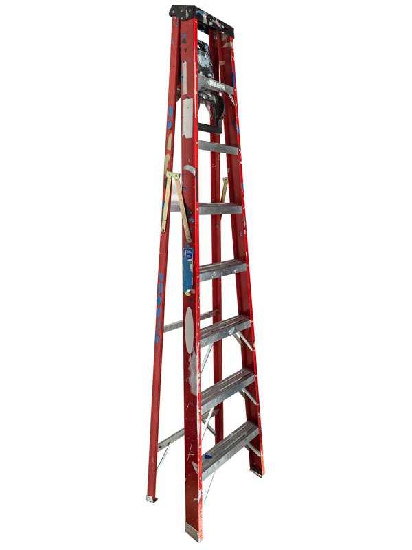 Large Folding Ladder: Red with Black Top and Tape, 2014 edition of 10 pigment ink on Photo-Tex paper 120 x 30 inches