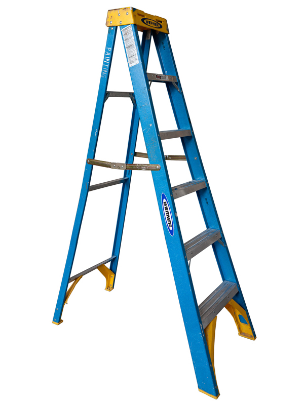 Medium Open Folding Ladder: Blue with Yellow Top, 2012 edition of 10 pigment ink on Photo-Tex paper 90 x 50 inches