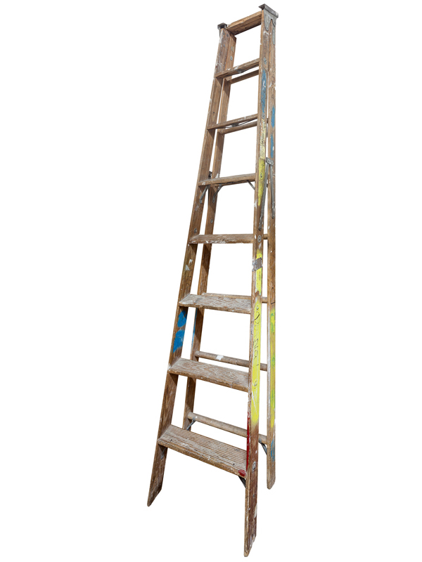 Large Folding Ladder: Wooden with Paint, 2014 edition of 10 pigment ink on Photo-Tex paper 120 x 31 inches