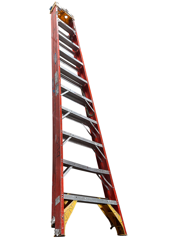 Large Folding Ladder: Orange with Yellow Top, 2012 edition of 10 pigment ink on Photo-Tex paper 114 x 33 inches