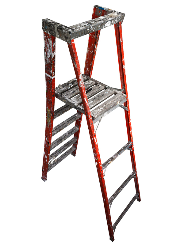 Large Folding Ladder: Orange with Platform Open, 2012 edition of 10 pigment ink on Photo-Tex paper with foamcore and acrylic paint 99 x 42 inches