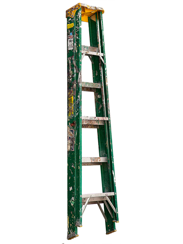 Medium Folding Ladder: Green with Yellow Top and Paint, 2013  edition of 10 pigment ink on Photo-Tex paper with foamcore and acrylic paint 72 x 17 inches