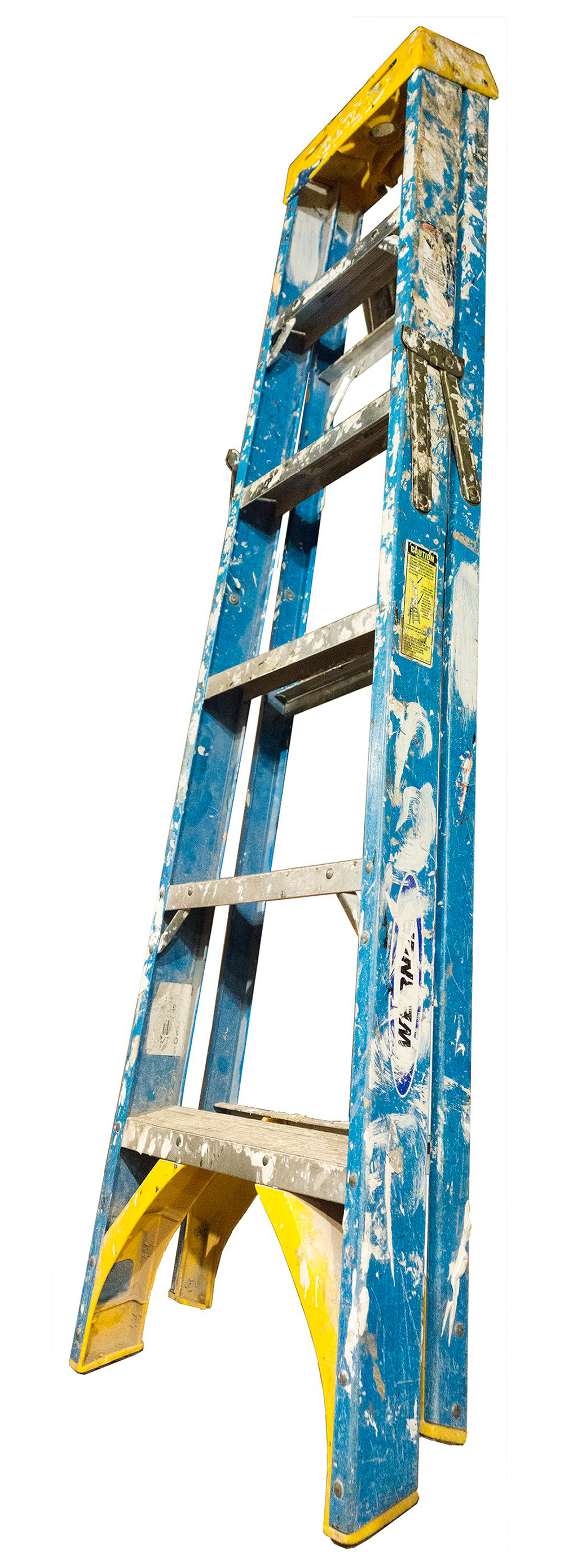 Medium Folding Ladder: Blue with Yellow Top and Paint, 2014  edition of 10 pigment ink on Photo-Tex paper 72 x 21 inches
