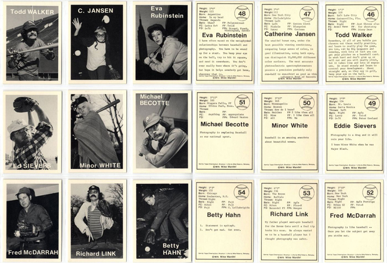 Untitled (Baseball - Photographer Trading Cards), 1975 complete set of 135 cards, measuring 3.5 x 2.5 inches each lithograph on trading card