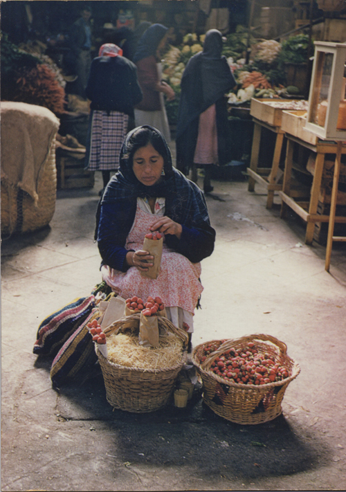 Ellen Auerbach & Eliot Porter Strawberry Woman, Morelia, Mexico, 1956 10.5 x 7.25 inches vintage dye transfer print mounted on board