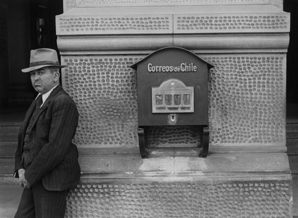 Ellen Auerbach Male and Mailbox, Chile, 1948 7.5 x 10 inches vintage silver print